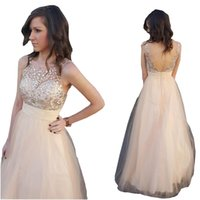 Champagne Tulle Prom Formal Dresses V Backless Scoop 2022 Crystal Dress Evening Wear Party Graduation Gowns