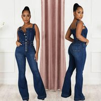 Women's Jumpsuits & Rompers Jeans Casual Suspenders Sexy Women Spaghetti Strap Bodycon Blue Denim Jumpsuit