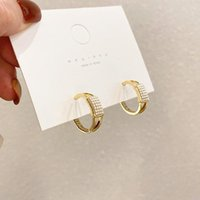 Hoop & Huggie Temperament C Shape Simulated Pearl Earrings For Women Gold Color Metal Geometrical Party Wedding Jewelry