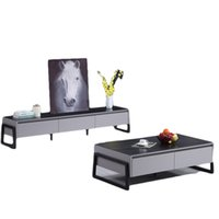 Italienisches Minimalistisches Licht Luxus Einfache Wohnzimmer Wohnmöbel Rock Board TV-Kabinett-Couchtisch-Kombinationsset
