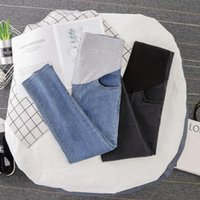 Maternity Bottoms 0260# Pants Spring Autumn High Waist Jeans Belly Support Elastic Trousers