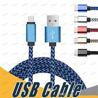 Braided Fabric Micro USB Cell phones Charge Cables 2A 1M 2M 3M Charger Type-C For Samsung Galaxy S10 S20 S7 Edge LG Sony