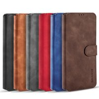 Vintage Oil Side Wax PU Leather Flip Wallet Phone Cases For Samsung Galaxy S8 S9 S10E Note 10 S21 Plus Ultra S20 FE TPU In Inner Cover