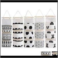 Scatole Bins Black Bianco Modello Bianco Biancheria di cotone Appeso Storage 3 tasche montate guardaroba Hang Bag Sacchetto della parete Possitore di giocattoli cosmetici Organizzatore J LZ0WK