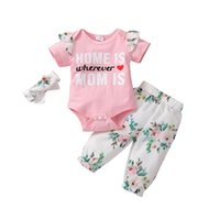 Clothing Sets Infant Kids Baby Girl Short Sleeve Set, Letter Print Tops And Flower Long Pants Headband 3-piece Suits