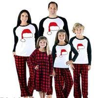 성인 어린이 일치하는 새로운 가족 크리스마스 격자 무늬 잠옷 긴 소매 O 넥 풀오버 면화 잠옷 잠옷 세트