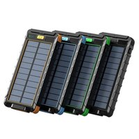 Waterproof 20000mAh Dual USB Solar Power Bank Portable Charger with LED Light - Green