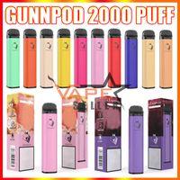 GunnPod 2000 퍼프 일회용 vape 펜 전자 담배 deivce 1250mAh 배터리 8ml 포드 증발기 스타터 키트 vs 엘프 바