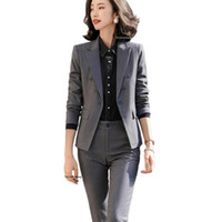 Women's Suits & Blazers Women Gray Black Pant Suit 2021 Fall Winter 2 Piece Set Triple Breasted Blazer Jacket And For Interview Work Busines