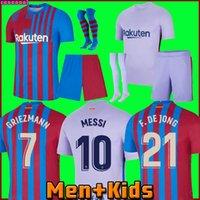 21 22 Barcelona Futbol Formaları 2021 2022 Pedri Messi Ansu Fati Camiseta Futbol Griezmann De Jong Kun Aguero Maillots Ayak Top Tayland Futbol Gömlek Erkekler + Çocuk Seti