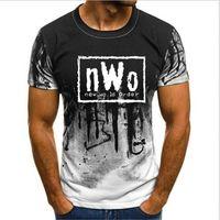 T-shirt maschili per adulti wcw wcw wrestling nwo mondo inchiostro wolfpac nero maglietta da uomo marca maschile tops abbigliamento camisetas casual camuffamento camuffamento