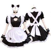Black Lolita Kleider Maid Outfit Nette Katze Cosplay Kostüm Frauen Anzug Schürze Kleid Halloween Kostüme Y0903