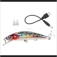Yemler Spor Açık Havada Vibrastrike Flaş Cazibesi Swimbait Şarj Edilebilir USB Lures Teğmen Minnow Elektronik Balıkçılık Bait Ye16 Bırak Canlı