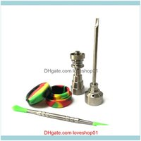 Other Smoking Aessories Household Sundries Home & Garden Glass Bong Set T-002 Domeless Gr2 With Titanium Nail Carb Cap Dabber Tool Sle Jar D