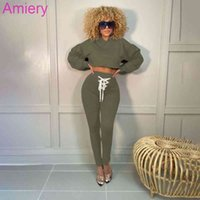 Women Tracksuits Two Piece Pants Outfits Long Sleeve Hooded Loose Pullover High Waist Sweatpant Eyelet Bandage Suit