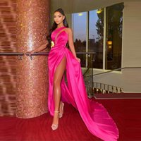 Hot Pink One Shoulder Prom Dresses 2022 Sexy Pleats High Side Split Cocktail Party Dress Back For Black Girls Evening Gowns