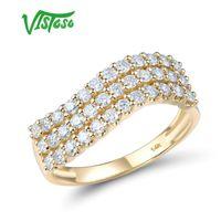 Кластерные кольца Vistoso Золотое кольцо для женщин Подлинная 14k 585 Желтый сверкающий алмазные обещания годовщины.