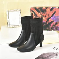 Socks boots autumn winter women shoes Knitted elastic boot sexy Letter fashion boott Thick heels woman High-heeled shoe Large fashions classic