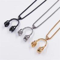 Pendant Necklaces DoreenBeads Fashion Necklace Gold Sliver Music Headset Earphone Hip DJ Chain Men's Necklace,1 Piece