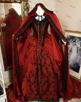 Gothic Halloween wedding dresses with cape Winter Sleeping Beauty Red and Black Sparkle Fantasy Lace-up Corset bridal dress Plus size