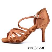DIPLIP New Hot Latin Dance Shoes Mulheres Ballroom Tango Soft Bottom 9cm Menina Salsa High Heel 210804