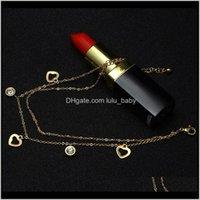 Ankletes Ювелирные Изделия Drop Доставка 2021 Сердце Palml Peaml D Bow Hearts Два бриллианта Двойная Анклалет Розовое Золото BGVFX