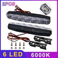 PCS LED voiture Day Hime Lights DRL 6 LEDS DC 12V 6000K Automobile Source Source Source ACCESSOIRES D'URGENCE