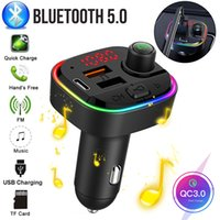 Car FM Transmitter Bluetooth 5.0 Wireless Car Kit 18W PD QC3.0 Fast Charger with MP3 Player Colorful RGB Backlight Auto Charging