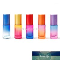 Storage Bottles & Jars 5ml Cosmetic Glass Roll On Bottle With Steel Bead Blue Pink Gradient Essential Oil , Perfume Bottles1