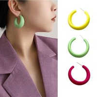 Hoop & Huggie Korean Round Circle Statement Earrings For Women 2021 Fashion Jewelry Geometric Earring Vintage Girls Accessories