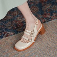 Sandals Women Cow Leather Square Toe High Heels Summer Pumps Shallow Buckles Strap Mary Janes Shoes For Woman Handmade
