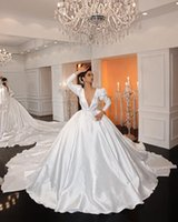 Long Sleeve Princess Wedding Dresses 2022 Sexy V-neck Cathedral Train Matte Train Arabic Middle East Muslim Bridal Dress Robes