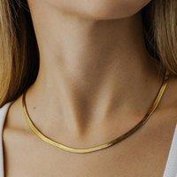 간단한 여성 블레이드 티타늄 스틸 목걸이 스테인리스 평면 뱀 뼈 체인
