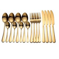 Dinnerware Sets 16PCs Western Style Stainless Steel Knife Fork Spoon Flatware Cutlery Tableware Household Kitchen Supplies 14cm-23cm Long,1S