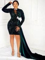 2021 Plus Size Arabic Aso Ebi Dark Green Sequined Prom Dresses Lace Short Long Sleeves Evening Formal Party Second Reception Bridesmaid Gowns Dress ZJ440