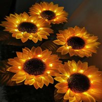Solars عباد الشمس أضواء حديقة ديكورات في الحديقة مصباح الطاقة الشمسية الصمام المشهد عباد الشمس خرافية مصابيح ضوء الليل GWD6268