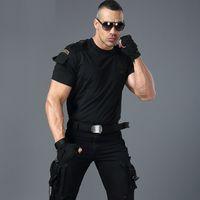 T-shirt stile militare in stile militare -shirt da uomo uniforme da uomo a maniche corte ee maschio camicia abbigliamento nero esercito verde