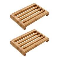 Pratos de sabão 2 pcs prato de bambu banheiro drenagem prateleira sanitária tamanho grande cinta