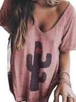 선인장 V 넥 캐주얼 드레스 오각형 인쇄 라글란 Sve T 셔츠