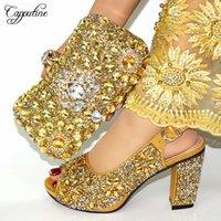 Dress Shoes Gold High Heels Sandals And Purse Bag Set Italian Design Party Matching With Handbag Pumps Clutch CR940 9.3CM