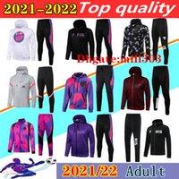 2021 2022 Paris Futbol Hoodie Eşofman Ceket Seti Sökme 21/22 MBappe Icardi Futbol Kapüşonlu Ceketler Eğitim Takım Elbise Chandal Survêtement