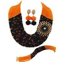 Pendientes Collar Moda Naranja Negro Negro Africano Boda Boda Nigeria Joyería Set Crystal Beaded Multistrands 10C-SZ015
