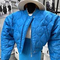 Пальто моды пузырь сплошной стандартный воротник негабаритных коротких зимних женских пухлые куртка Parkas Mujer Bomber SA052S50