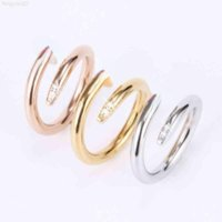 Titanium steel single nail ring European and American fashion street hip-hop casual couple classic golden silver rose optional size 5-10 ladies jewelry
