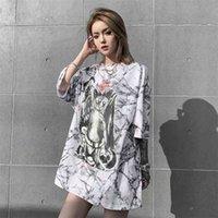 Черная кошка сатанинская мода панк рок женская одежда готический готив негабаритные футболки дамы сатаны футболки Tee Tops Streetwear 210331