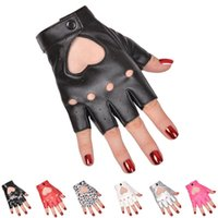 Sports Gloves 1Pair Women Punk Short Synthetic Leather Half Finger Fingerless Fashion Lady Handsome Black