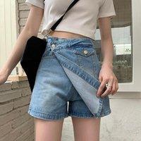 Pantaloncini da donna Zhisilao 2021 Donne vintage Irregulari Blue Denim Gonne Signore Summer Straight High Waist Jeans