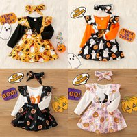 Euro American Baby Дети наборы Halloween Day Cosplay Outfit Одежда для девочек + юбка + Одежда на повязках 0-1т