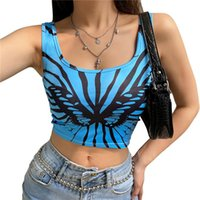 Summer Women Fashion Butterfly Print Tank Top Sexy Sleeveless Crop Slim Y2k Camisole For Ladies Female Women's Tanks & Camis