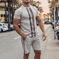 Мужские трексуиты мода полосатые мужчины устанавливаются уличная одежда o шеи с коротким рукавом футболка шорты на стрижках 2021 тренировки уютные повседневные костюмы incerun 5x